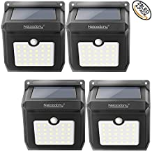 Wireless Solar Motion Sensor Light 100% Upgrade New Rechargeable Waterproof Security Lights with 28 LEDs, Powerful Safelight for Outdoors, Outside Wall, Garden, Patio, Yard, Pathway Weatherproof Outdoor Lighting by Neloodony