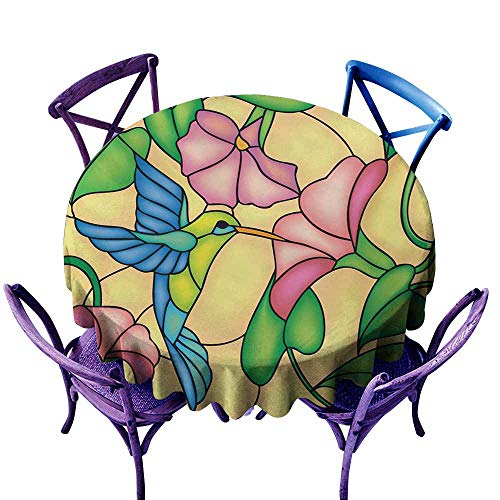 - AGONIU Spill-Proof Table Cover,Hummingbird Stained Glass Style Bird and Hibiscus Tropical Flora and Fauna Illustration,Party Decorations Table Cover Cloth,47 INCH Multicolor