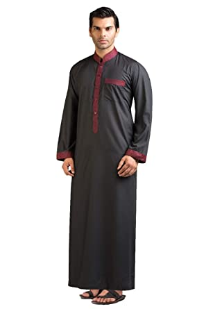 ee4cca1f659f Amazon.com: Hussn Mens Thobe/Kaftan Kamani-Islamic Clothing Jubba for Men- Muslim Thobes: Clothing