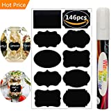#1: Chalkboard Labels,146pcs Waterproof Reusable Chalkboard Stickers with 1 White Chalk Markers Window Pens Erasable for Labeling Mason Jars, Pantry, Craft Rooms & Closets - Organize Your Home & Office