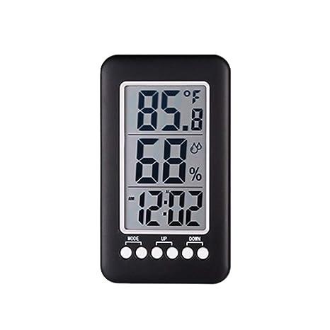 Gracorgzjs - Termómetro Digital para el hogar, higrómetro, Reloj medidor de Temperatura y Humedad
