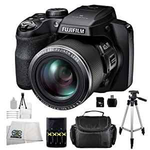 Fujifilm FinePix S8200 Digital Camera (Black) Kit Includes: 16GB Memory Card, USB Memory Card Reader, 4AA Batteries + Charger, Full Size Tripod, Carrying Case & Starter Kit