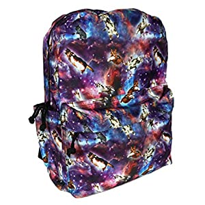 Funny Guy Mugs Premium Space Cat Backpack - Back To School Book Bag - Full Print Unisex Travel Bag