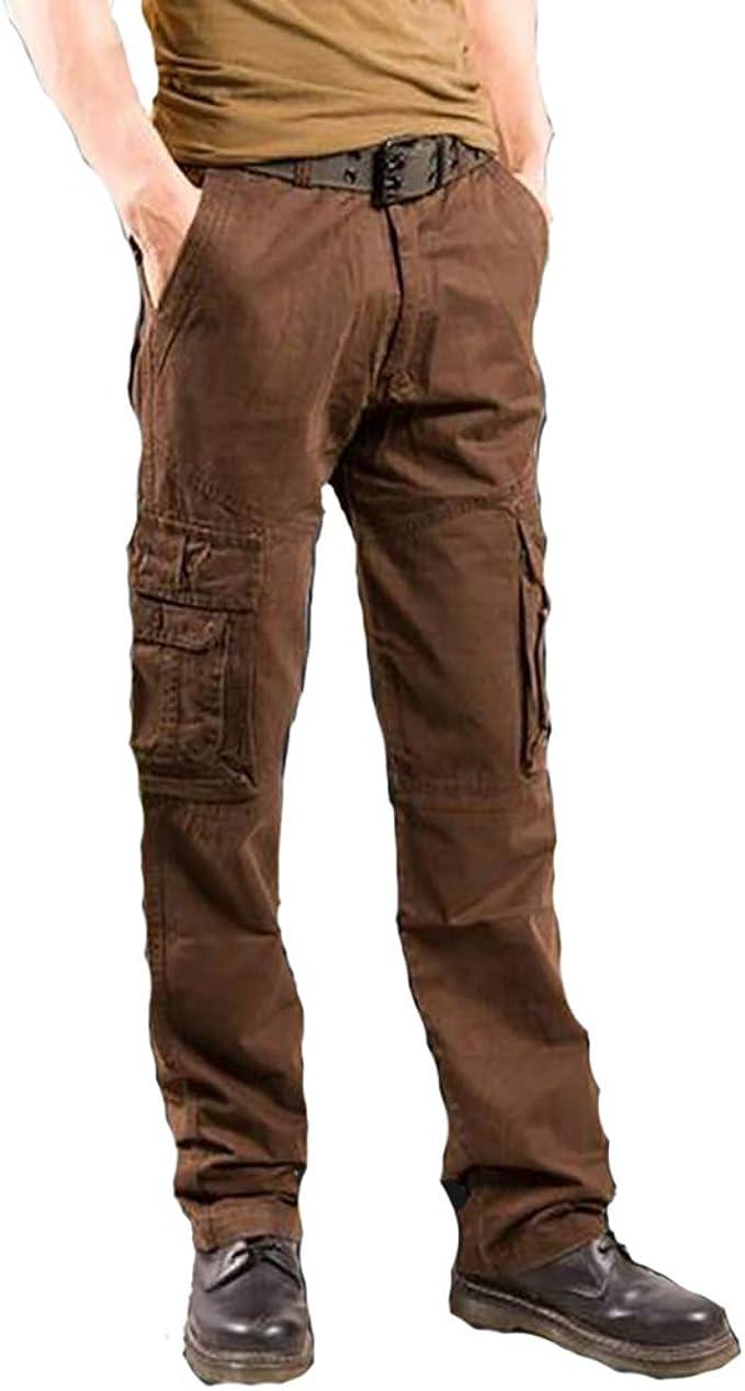 DaiHan Pantalones de Trabajo Color Liso Algodón Ancho para Hombres Multi Bolsillos Militar Cargo Pantalones: Amazon.es: Ropa y accesorios