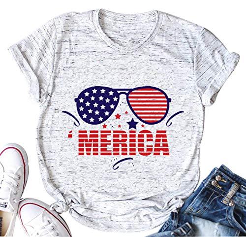 licson Women's Merica Sunglasses T-Shirt 4th of July Patriotic T-Shirt Sunglasses Star Shirts Independence Gift (XX-Large) White (Not Drunk Girls T-shirt)