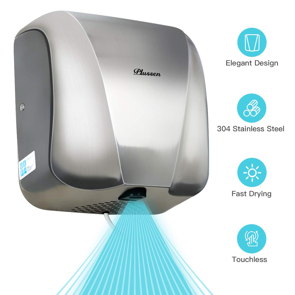 PLUSSEN High Speed Automatic Electric Commercial Hand Dryers for Bathrooms Commercial 1800W Heavy Duty Stainless Steel Hot Air Compact Hand Dryer Blower, Fast Drying in 10 Seconds by PLUSSEN
