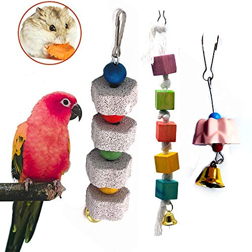Parrot Chewing Toy, Bird Beak Grinding Stone for African Greys, Conure, Cockatoo Eclectus Budgies, Parakeet Cockatiel Hamster Chinchilla Rabbit Mouse Squirrel Gerbil (3 Packs)