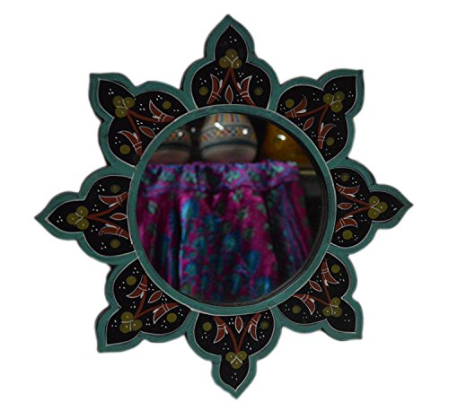Moroccan Decoration Mirror Wood Colorful Painted Wall Bathroom Dresser Handmade Black 14 inches Diameter