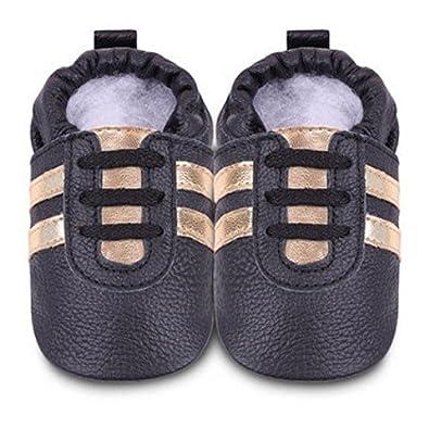 ShooShoos - Zapatitos de piel suela blanda, deportivas negras, talla xl (18 a 24 meses)
