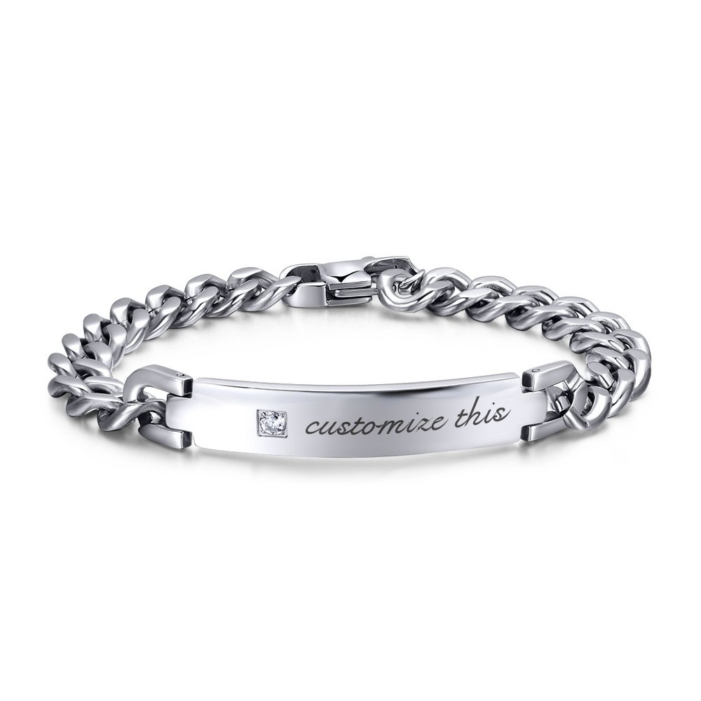 Free-Engraving Personalized Tag CZ Cubic Zircon Cube Chain I.D. Identification Bracelets for Men Women