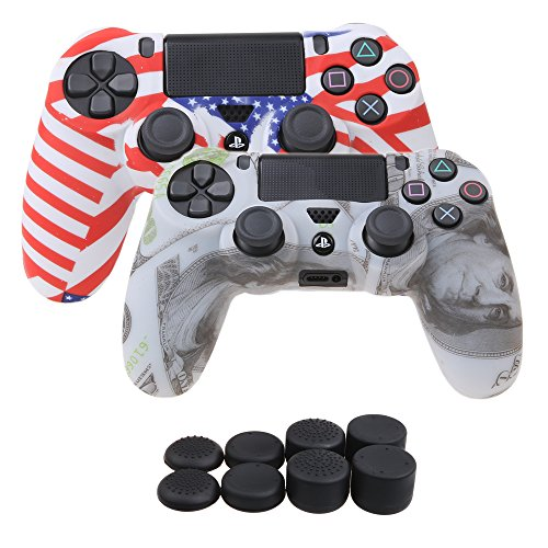 YoRHa Water Transfer Printing Camouflage Silicone Cover Skin Case for Sony PS4/slim/Pro controller x 2(US flag+US dollar) With Pro thumb grips x 8 Dollars Case Cover