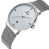 Men Casual Date Quartz Wrist Watches Gent Waterproof Sports Watch Elite Ultra Thin Clock WR-8018 (White)