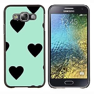 Dragon Case - FOR Samsung Galaxy E5 E500 - heart teal mint green black pattern - Caja protectora de pl??stico duro de la cubierta Dise?¡Ào Slim Fit