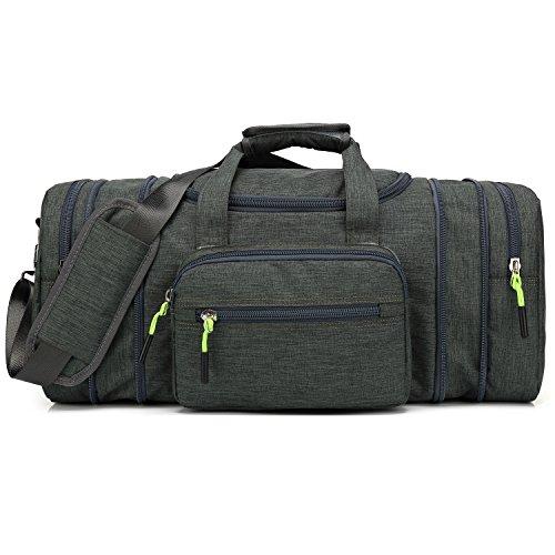 Kenox Oversized Canvas Travel Tote Luggage Weekend Duffel Bag (Greenblackfabric) by Kenox