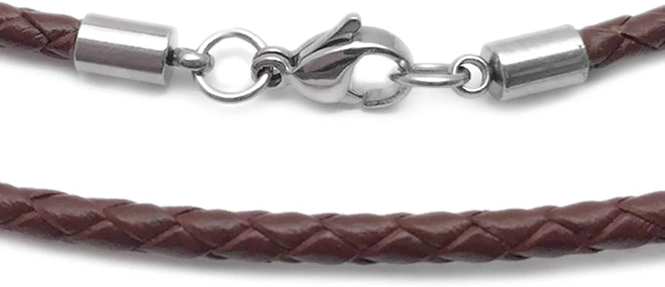 Loralyn Designs 3mm Men's Brown Braided Leather Necklace Cord with Stainless Steel Lobster Clasp (16-24 Inch)