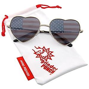 grinderPUNCH Women's Heart Shaped American Flag Cute Sunglasses US Shades