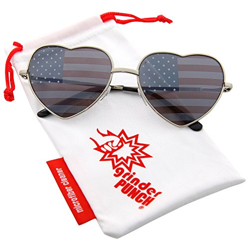 grinderPUNCH Women's Heart Shaped American Flag Cute Sunglasses US - Heart American Sunglasses Flag