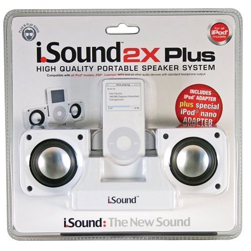 DreamGear i.Sound 2x Plus Foldable Speaker System for iPod and MP3 Players (White) DreamGEAR (CE) DGIPOD-321