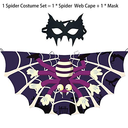 Toddler Kids Spider Costume for Boys Girls, Fancy Web Cape and Mask for Superhero Party Cosplay Accessories (Black) -