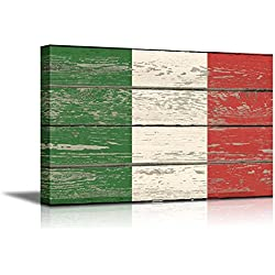 "Wall26 - Canvas Prints Wall Art - Flag of Italy on Vintage Wood Board Background Stretched Canvas Wrap. Ready to Hang - 12"" x 18"""
