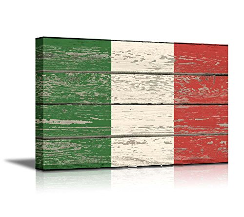 wall26 - Canvas Prints Wall Art - Flag of Italy on Vintage Wood Board Background Stretched Canvas Wrap. Ready to Hang - 16