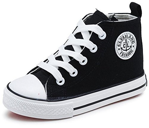 DADAWEN Girl's Boy's Canvas Side Zipper Lace Up High-Top Fashion Sneakers (Toddler/Little Kid/Big Kid) Black US Size 11 M Little Kid