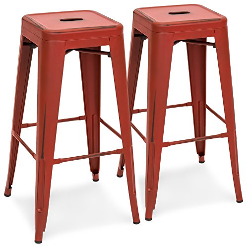 Best Choice Products 30″ Set of 2 Modern Industrial Distressed Metal Bar Height Bar Stools (Red)