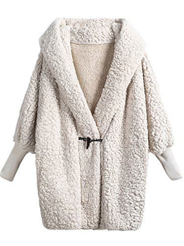 SweatyRocks Women Khaki Hooded Dolman Sleeve Faux Fur Cardigan Coat for Winter (Medium, Cream)