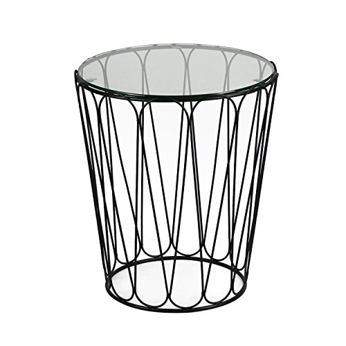 Joveco Black Accent Metal Round End Table with Glass Top (Round Metal Patio Table)