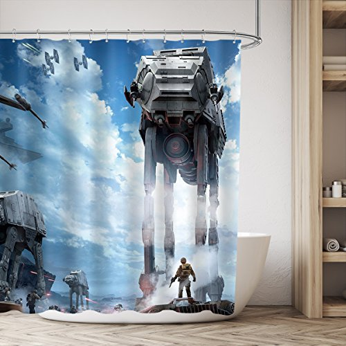 LIGHTINHOME Star Wars Movie AT-AT Empire Strikes Back Shower Curtain Blue Sky Stormtroopers Shower Curtain Panel 72x72 Inch Polyester Waterproof Fabric 12-Pack Shower Plastic Hook Included by LIGHTINHOME