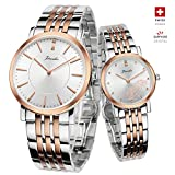Jiusko Swiss - His & Hers Couple Wrist Watches Gift Set - Real Diamond - Sapphire - Two Tone … (Two-Tone)