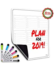 Dry Erase White Board/Magnetic Multi-Purpose Weekly Organizer for Refrigerator/Best for Smart Planners