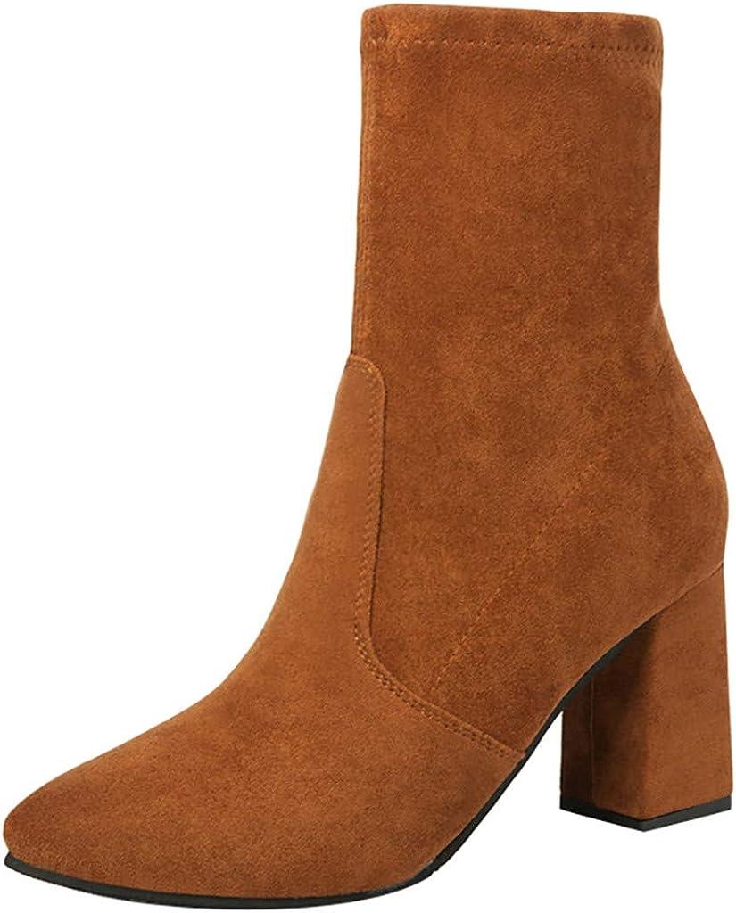 TWIFER Zapatos de Mujer Botines Mujer Ankle Botas Calcetines Botas Martain Boot Cálido Otoño Invierno Calentar Cuñas Botas De Nieve Tacón Ancho Moda Color sólido Negro Marrón 35-39