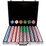 Trademark Poker 1000 Chip Nexgen Pro Classic Style Poker Set with Aluminum Case, Silver