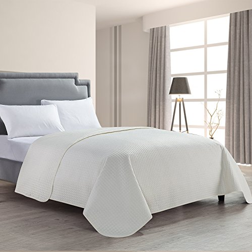 ckered Super Soft Solid Single Pinsonic Quilted Bed Quilt Bedspread Bed Cover, Ivory, King (Super King Quilt)
