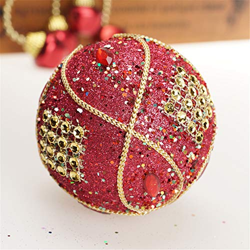 Christmas Ball Ornaments Decoration Christmas Rhinestone Glitter Baubles Balls Xmas Tree Ornament Decoration (8cm in Diameter) (Red) by TLT Retail (Image #2)