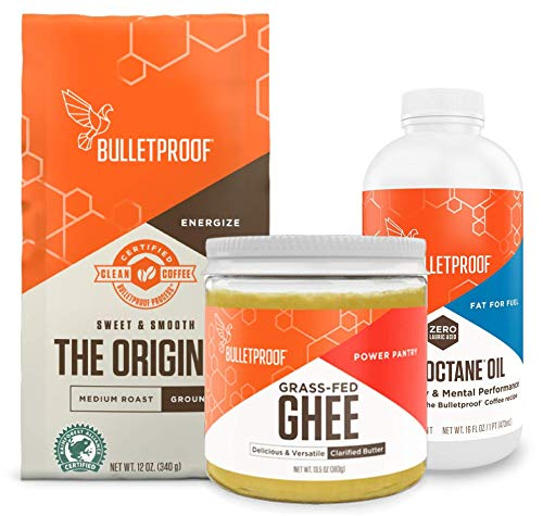 Bulletproof Starter Kit, 12oz Ground Original Roast Clean Coffee, 16oz Ketogenic MCT Brain Octane Oil made from 100% coconut, 13.5oz Grass-Fed Ghee, Perfect For Keto Diet