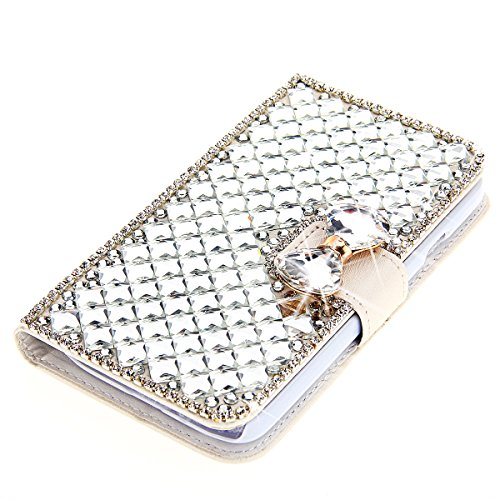 Case for Galaxy J7, Moonmini 3D Luxury Bling Rhinestones Diamonds Bow Bone PU Leather Flip Case Cover Wallet with Card Holders for Samsung Galaxy J7 (White)