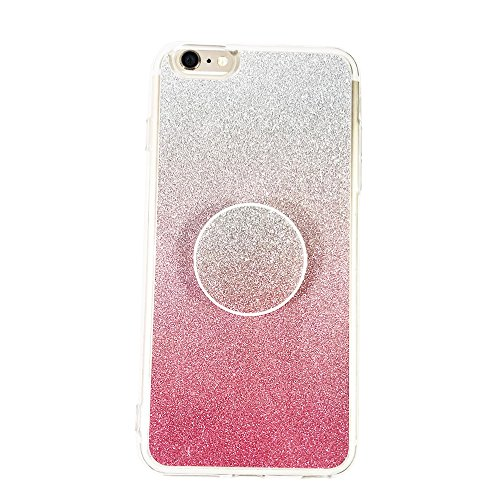 iPhone 6s/6 plus/6s plus Case and Pop Out Grip Socket Set, Bling Bling Shining Glitter TPU Rubber Cover Shock-Resistant and Non-Slip iPhone 6s/6P/6sP - - Glitter Out Pop