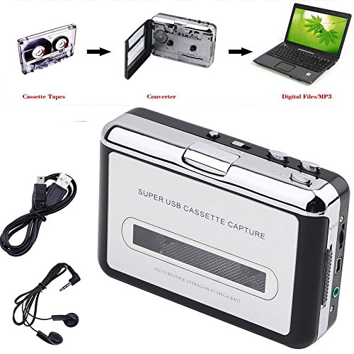 Ezcap Portable USB Cassette Capture, Old Tape Player Captures MP3 Audio Music with Earphone, Turning Your Tapes into MP3, Play as Walkman Media Player, Auto-Reverse Function