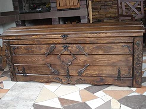 Massive Handgemachte Holzkiste Truhe Box Holz Aufbewahrung Antik Dekoration  Wohnen Möbel Sitzbank Schuhschrank Kaffee Tisch KL2