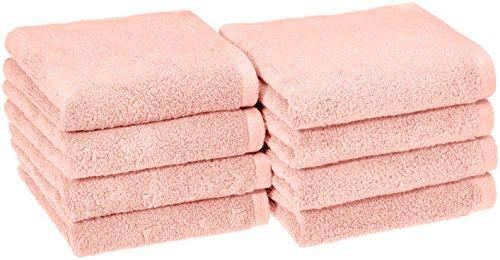 AmazonBasics Quick-Dry Hand Towels - 100% Cotton, 8-Pack, Petal Pink