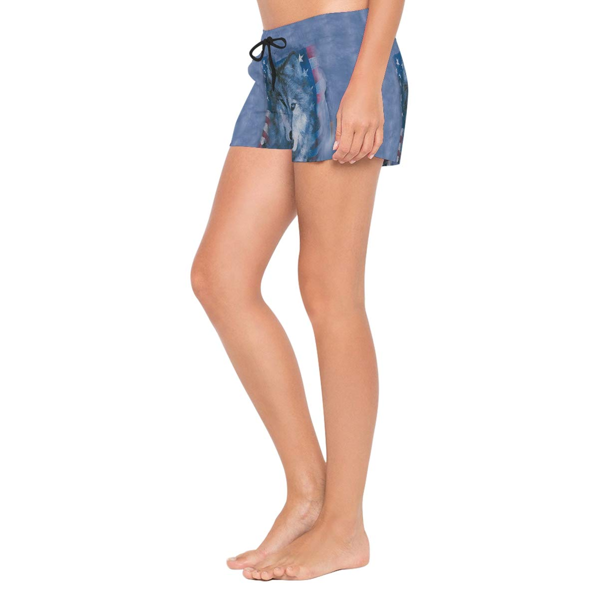 Patriotic Wolfpack Lttedeng Womens Quick Dry Swim Trunks Swimming Shorts with Mesh Liner