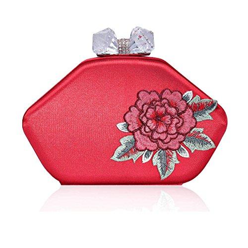Damara Botella Mujeres Cartera De Embrague Con Costuras De Rosa Caja Dura,Gris Rojo