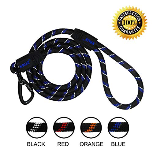 (KRUZ PET KZROPE5060-02L 5' Reflective Rope Leash, Click and Lock Hook, Large)