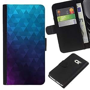 Samsung Galaxy S6 EDGE SM-G925 , la tarjeta de Crédito Slots PU Funda de cuero Monedero caso cubierta de piel ( Polygon Purple Blue Wallpaper Abstract)