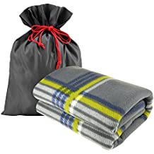"""Forestfish Fleece Throw Blanket Cozy Soft Portable Travel Blanket Compact for Long Car Airplane Train Rides 60"""" x 40"""", Plaid"""