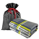 Forestfish Fleece Throw Blanket Cozy Soft Portable Travel Blanket Compact for Long Car Airplane Train Rides 60'' x 40'', Plaid