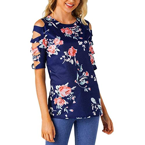 Shirts Fleur Tshirt Fit Slim Motif Blouse Rtro Festive Manches Spcial Jeune Femme Et Mode Courtes Blau Mode Style Col Rond Creux lgant Tops Dsinvolte 8q8Bw4