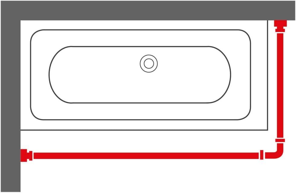 Wei/ß Sealskin Duschvorhangstange Edelstahl U-Form modulares Design